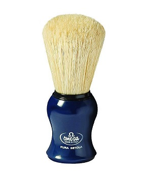 Omega Boar Bristle Shaving Brush, Blue Handle
