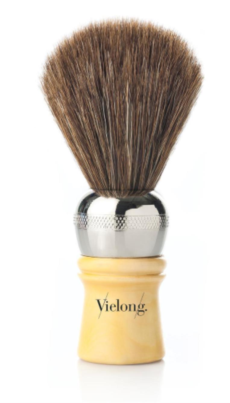 Vie-Long Cachurro Professional Horse Hair Shaving Brush, Metal/Wood Handle